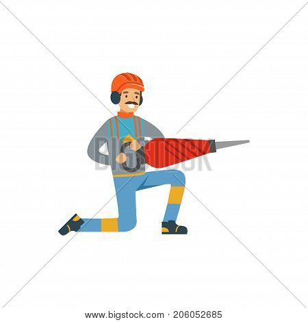 Male miner worker in uniform holding jackhammer, professional miner at work, coal mining industry vector Illustration isolated on a white background
