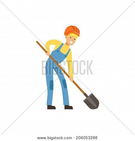 Male miner in uniform working with shovel, professional miner at work, coal mining industry vector Illustration isolated on a white background