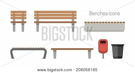 Benches flat icons. Outdoor wooden benches with garbage can.
