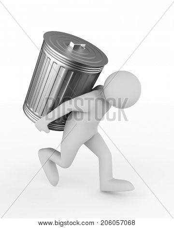 man bears garbage basket on white background. Isolated 3D illustration