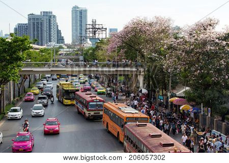 BANGKOK, THAILAND, APRIL 09, 2017 : Busy area of the Chatuchak week-end market with spring blossom, Bangkok, Thailand