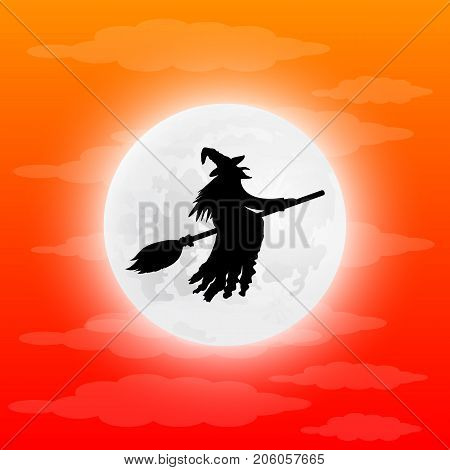 Witch on a broom halloween vector illustration