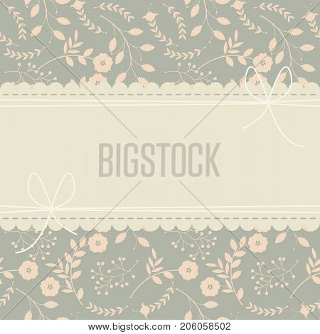 Cute greeting card with decorative flowers and leaves can be used for wedding invitations, baby shower greeting cards, covers, birthday greeting cards and more designs.