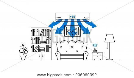 Domestic air conditioner vector illustration. Living room with air conditioner appliance line art concept.