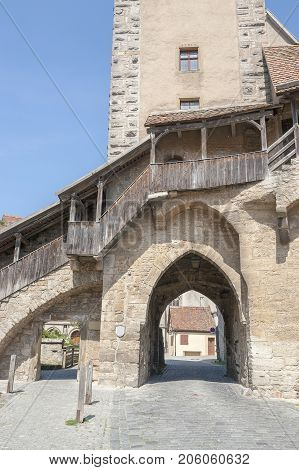 city view with town gate in Rothenburg ob der Tauber a town in Middle Franconia in Bavaria Germany