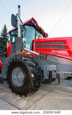 Russia Samara - September 23 2017: Modern agricultural tractor Kirovets K 4 exhibited at the annual Volga agro-industrial exhibition