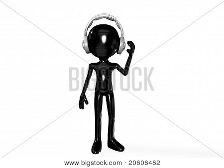 abstract 3D black man with headphones