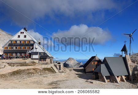 Triglavski Dom na Kredarici mountain hut (2,515 m) at the foot of Mount Triglav (2,864 m) in the Julian Alps, Slovenia