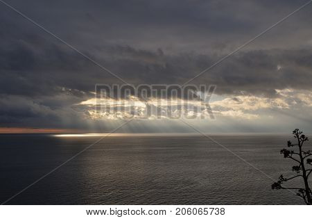 Sea And Sky View Before Thunderstorm
