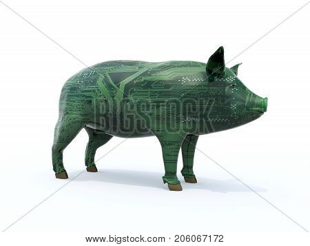 Pig That Is Colored Like An Electronic Circuit