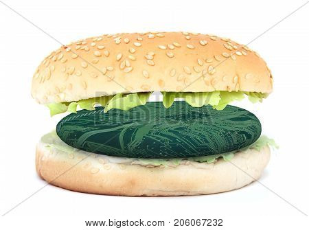Sandwich With Electronic Burger, Synthetic Meat Concept