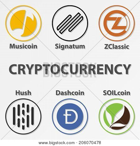 Set of 6 cryptocurrency icon. Colorful zclassic hush and etc