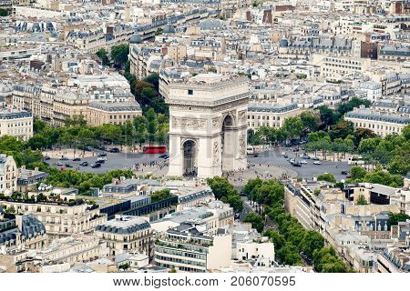 Aerial view of the Arc de Triomphe and the Place Charles de Gaulle in Paris