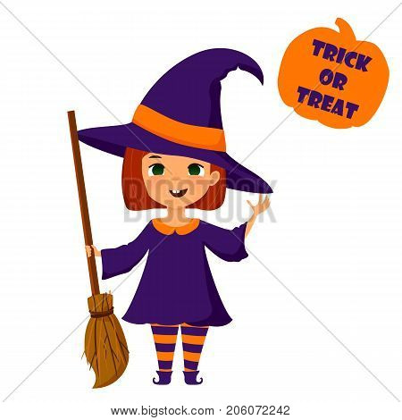 Halloween cute little witch vector illustration. Cartoon stylized girl in witch costume with broomstick. Halloween colorful design element for prints cards banners.