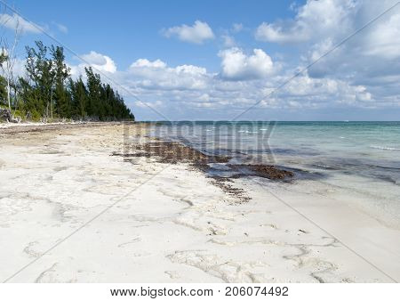 The sand washed away off Taino Beach after the storm on Grand Bahama island.