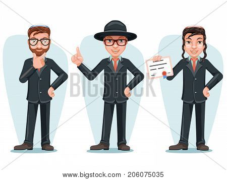 Modern Orthodox Smart Casual Young Israel Businessman Male Cartoon Characters Isolated Set Icons Design Vector Illustration