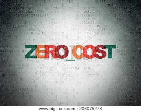Business concept: Painted multicolor text Zero cost on Digital Data Paper background