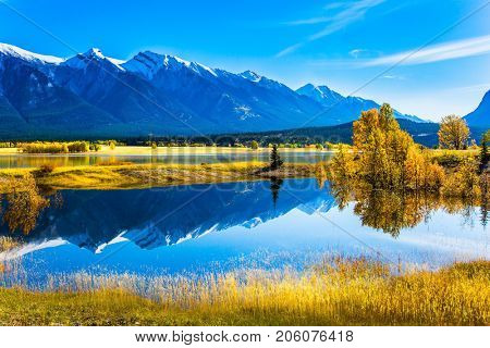 The water of fantastic Abraham lake reflects mountains and trees. Sunny autumn day in the Rocky Mountains of Canada. The concept of ecological and active tourism