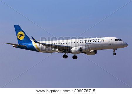Borispol, Ukraine - September 26, 2017: Ukraine International Airlines Embraer ERJ190-100 aircraft on final approach to Borispol International Airport on September 26, 2017. Editorial use only