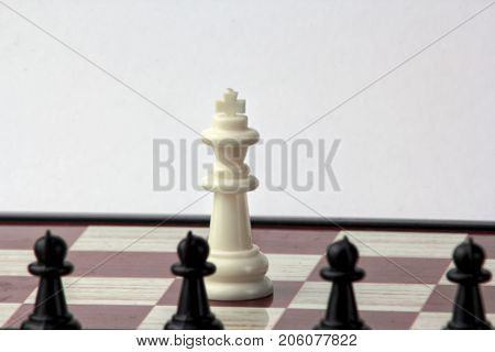 chess white queen in front of black pawns. concept of struggle. Isolated on white background.