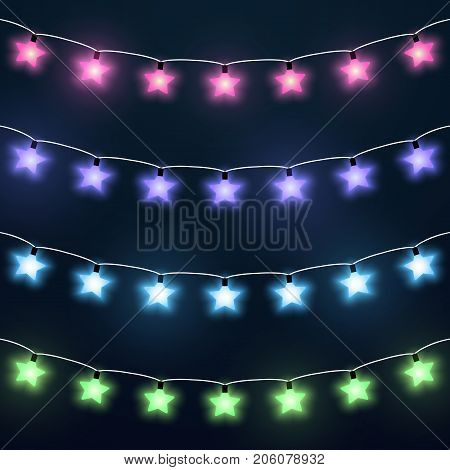 Set of colorful star garlands. Holiday decoration garland, vector illustration