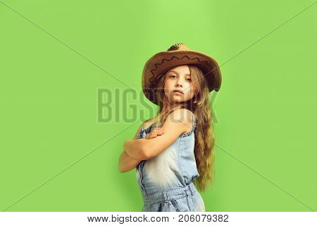 Fashion And Casual Style Concept. Little Lady In Stylish Clothes