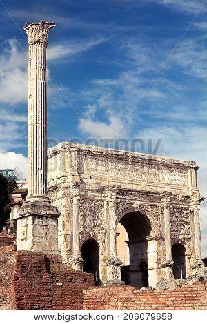 Septimius Severus Arch. The Roman Forum. Rome Italy.