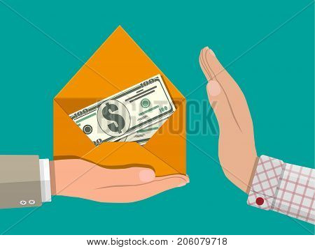 Dollar cash in envelope in hand. Hidden wages, salaries black payments, tax evasion, bribe. Anti corruption concept. Vector illustration in flat style