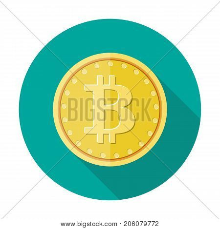 Golden coin with bitcoin sign. Money and finance. Digital currency. Virtual money, cryptocurrency and digital payment system. Vector illustration in flat style