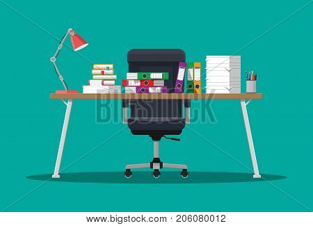 Pile of paper documents and file folders on office table. Paper stacks. Bureaucracy, paperwork, office. Chair, desk. Vector illustration in flat style