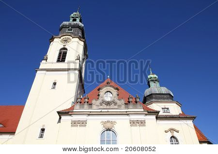 Poland - Bydgoszcz city in Kuyavia (Kujawy) region. Baroque revival church of the Most Holy Heart of Jesus Christ. poster