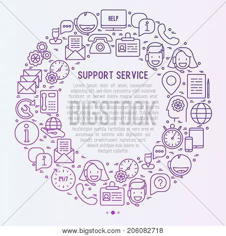 Support service concept in circle with thin line call center or customer service icons. Vector illustration for banner, web page of support center with place for text.