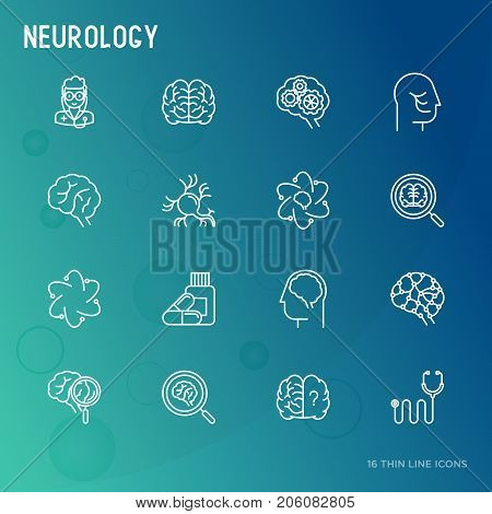 Neurology concept thin line icons set: brain, neuron, neural connections, neurologist, magnifier. Vector illustration for medical survey or report.