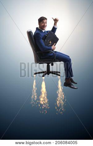 Businessman in career progression concept