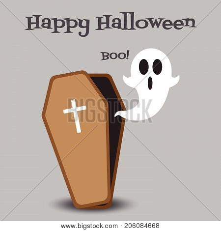 Vector Flat Design Happy Halloween Of A White Ghost With Black Eyes And Mouth Is Floating Out From An Opened Coffin Saying Boo! On Gray Background For Cute & Fun Cartoon Invitation Card / Illustration