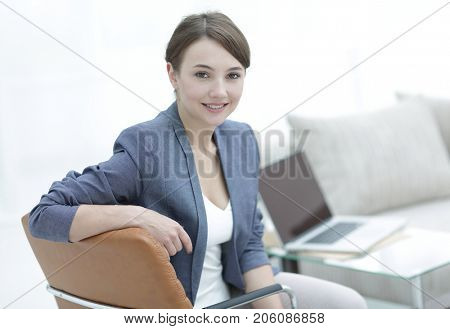 closeup portrait of a female psychologist in her private office