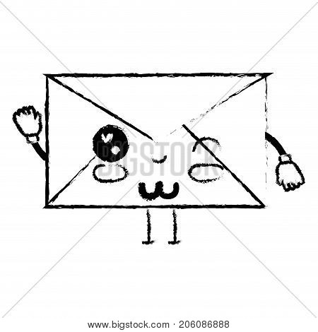 figure kawaii cute funny e-mail message vector illustration