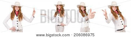 Young aiming cowgirl isolated on white