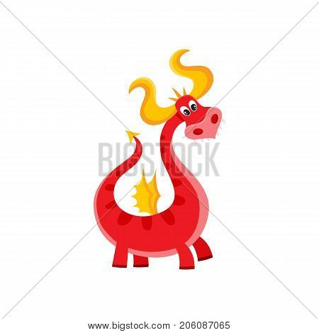 vector flat cartoon funny red adult, mature dragon with horns and wings. Isolated illustration on a white background. Fairy mysterious cute creature character for your design