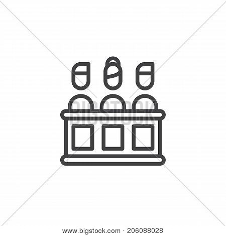 Jury line icon, outline vector sign, linear style pictogram isolated on white. Symbol, logo illustration. Editable stroke