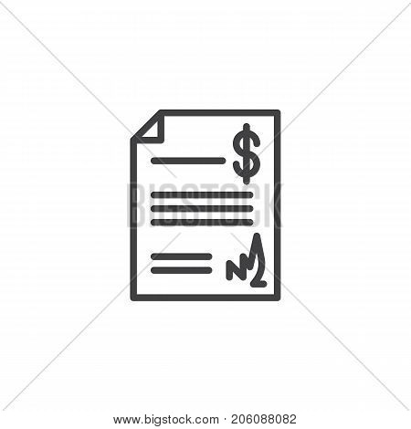 Act document line icon, outline vector sign, linear style pictogram isolated on white. Symbol, logo illustration. Editable stroke