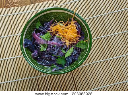 Chinese braised red cabbage  , close up
