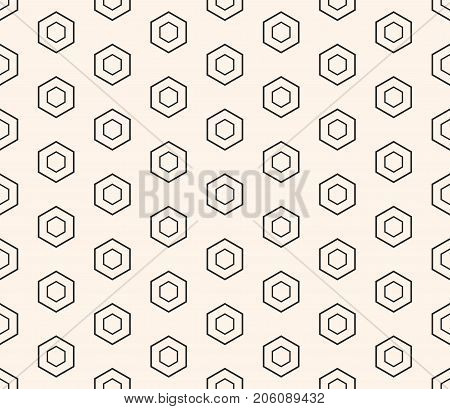 Vector honeycomb seamless pattern, repeat geometric background, thin linear hexagons. Abstract modern stylish hexagonal texture. Design element for prints, decoration, fabric, furniture, digital, web.