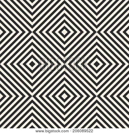 Squares seamless pattern. Simple vector striped texture, diagonal lines, rhombuses. Modern abstract geometric monochrome background. Pop art style. Repeat design for decor, textile, fabric, web. Stripes pattern. Lines pattern. Rhombuses pattern.
