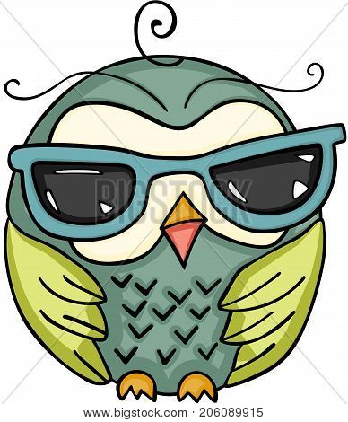 Scalable vectorial image representing a cute owl with sunglasses, isolated on white.