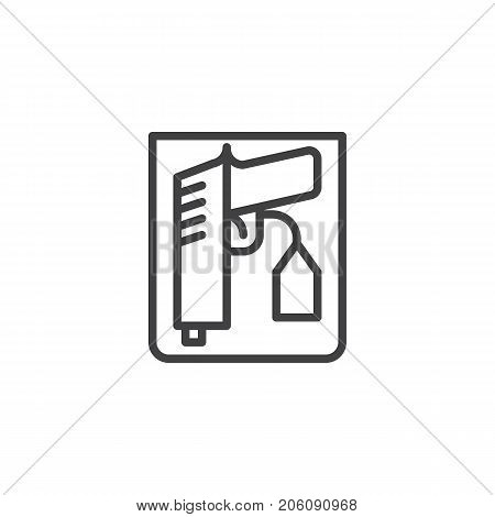 Weapon proof evidence line icon, outline vector sign, linear style pictogram isolated on white. Symbol, logo illustration. Editable stroke