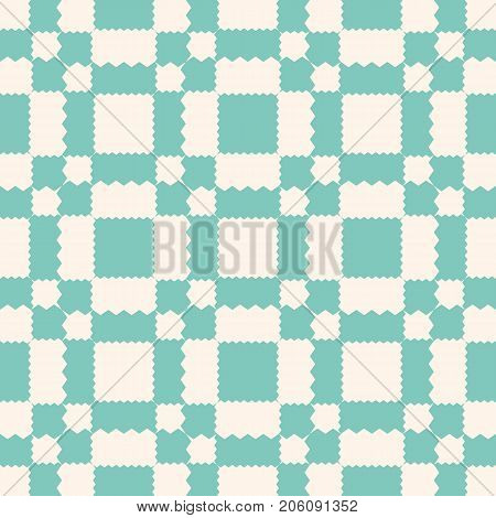 Vector geometric ornament pattern with jagged shapes, squares, triangles, repeat tiles. Ornamental ethnic motif. Abstract checkered background texture in pastel colors, aqua green, and beige. Ornament pattern. Squares background. Design pattern.