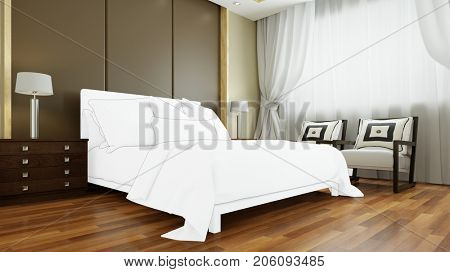 Individually configure and custom made bed for bedroom (3D Rendering)