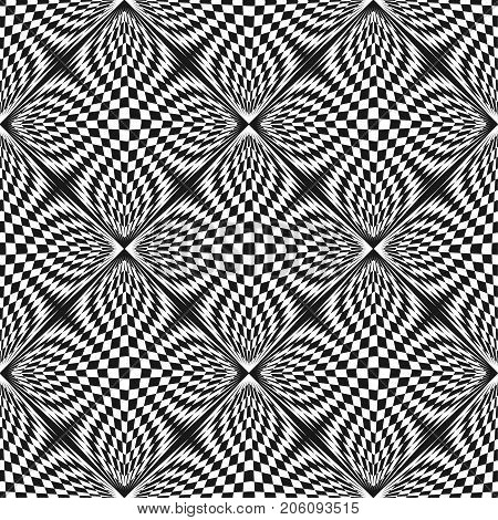Vector abstract checkered pattern. Black & white geometric seamless texture. Distorted chessboard surface, optical illusion effect. Monochrome background. Pop art style. Square repeat design element.