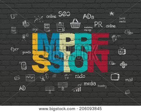 Advertising concept: Painted multicolor text Impression on Black Brick wall background with  Hand Drawn Marketing Icons